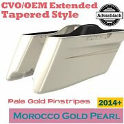 Morocco Gold Pearl Cvo Tapered Stretched Saddlebags Pinstripes For Harley 2014+