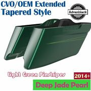 Deep Jade Pearl Cvo Tapered Stretched Saddlebags Pinstripes For Harley 2014+