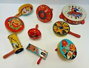 Vintage Lot Of 9 Tin Litho Noisemakers New Years Party Kirchhof T Cohn