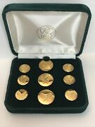 Wc 1812 Bright Gold Color Tennis Theme Blazer Jacket Button Set Of 9 Buttons