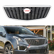 For Cadillac Xt5 2016 2017-2020 Silver Front Center Mesh Grille Grill Cover Trim
