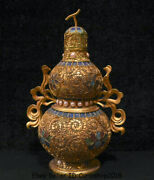 8 Old China Pure Silver Wire 24k Gilt Gold Fengshui Gourds Lucky Wealth Statue