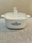 Vintage Corning Ware 1960andrsquos Blue Corn Flower P-1 3/4- B With Lid