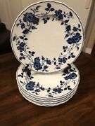 """6 Royal Meissen Fine China Salad Plates 7.5"""" Blue And White Floral Euc"""