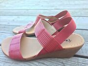 Baretraps Melody Red Leather Slingback Wedges Sandals Size 7m Women's