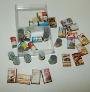 Estate Vintage Doll House Miniature Soup Vegetable Cans And Food Boxes