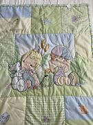 Precious Moments Baby Blanket Quilted Boy Girl 31x41 Crib Comforter Pastel