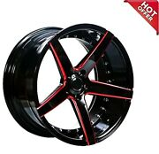 20 Ac Wheels Ac02 Gloss Black With Red Milled Rims And Tires Package With Tpms