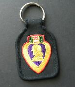 Purple Heart Combat Veteran Embroidered Key Chain Key Ring 1.75 X 2.75 Inches