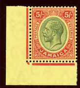 Jamaica 1919 Kgv 5s Green And Red/yellow Superb Mnh Sg 67. Sc 70.