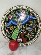 Antique Hand Painted Figural Faience Pottery Bird Platter Spain Signed 14and039and039