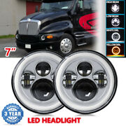 7 Inch Round Led Headlight Drl Hi/lo Beam Projector For Kenworth T2000 1998-2010