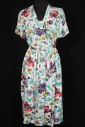 Rare Norwegian Vintage Wwii Era 1940and039s Floral Silky Rayon Print Dress Size 10-12