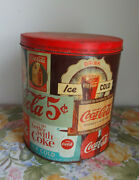 Vtg Rare Coca Cola Ice Cold Tin Huge Canister Sign Soda Fountain Antique Old