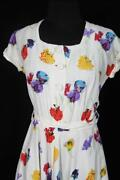 Very Rare French Vintage Wwii Era 1940and039s Floral Silky Rayon Print Dress Size 6-8