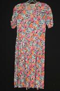 Very Rare French Vintage Wwii Era 1940and039s Floral Silky Rayon Dress Size 6+