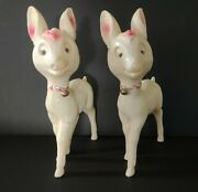 Set Of 2 Vintage Soft Plastic Reindeer Blow Mold Made Italy Christmas 11 X 8
