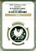 2005 P S50c Australia Lunar Year Of The Rooster Ngc Pf70 Uc Ngc Pop = 1 Boxand Coa