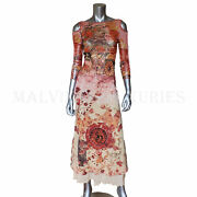 Save The Queen Long Dress Sicily Inspired Print Stretch Tulle 3/4 Sleeves Sz Xl