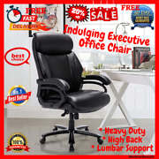High Back Leather Executive Office Chair With Arms And Lumbar Support +floor Mat