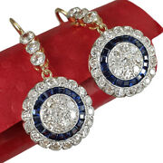 Vintage Art Deco Tear Drop Round Earrings With Sapphires And Diamonds 18k Gold