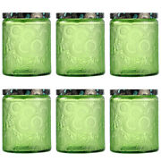6pcs Embossed Glass Candle Kits Empty Round Candle Making Mason Jars Containers