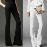 Summer Womens Flared Pants Party Formal Trouser Office Slim Stretch Black White