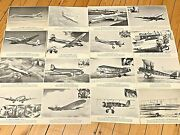 Vintage United Airlines Historic Planes Picture Set Of 16 Dc-8 To Wright Bros