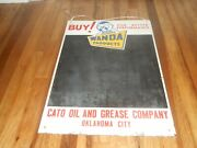 Vintage Wanda Oil Products Advertising Chalkboard Sign Cato Oil And Grease Ok City
