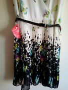 Oasis Chiffon Pleated Wrap Front Butterfly Dress 14