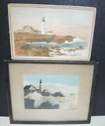 Two Antique Hand Aquatinted Photographs Of Portland Headlight - Bicknell And Blood