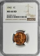 1942 Lincoln Cent Ngc Certified Ms66 Red