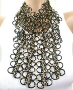 Valentino Italy Massive Black And Gold Chain Mail Vintage Bib Necklace