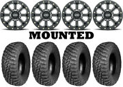 Kit 4 Bfgoodrich Mud Terrain Km3 35x11-15 On Itp Velocity Beadlock Black Fxt