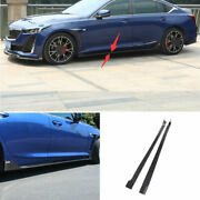 For 19-20 Cadillac Ct5 Real Carbon Fiber Outer Door Panel Trim Side Skirts 2pcs