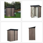 5 X 3 Ft Steel Storage Shed With Lean-to Roof Outdoor Backyard Tool House