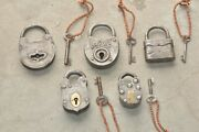 5 Pc Old Iron Handcrafted Fine Quality Solid Padlocks, Germany