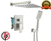 Shower Set Faucet 10 In. Rain Head Hand Wall Combo Square Mounted Brushed Nickel