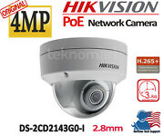 Hikvision 4mp Poe Ip Network Dome Camera Ds-2cd2143g0-i Outdoor Ir 30m Wdr Ip67