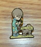 Genuine Precious Moments Boy And A Baby Manger Collectible Vintage Rare Pin