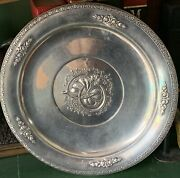 Sterling Horseshoe Clover Lucky Charger Plate Hunt Silver Co 9.5andrdquo