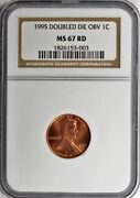 1995 Doubled Die Lincoln Cent Ngc Certified Ms67 Red