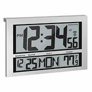 Commercial Grade Jumbo Atomic Wall Clock With 6 Time Zones, Indoor 1 Silver