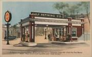 Gas Station A Typical Gulf Service Station Linen Postcard Vintage Post Card