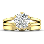 0.9ct D-si1 Diamond Bridal Set Engagement Ring 14k Yellow Gold Any Size