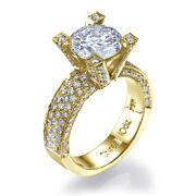 1.6ct D-si1 Diamond Pave Engagement Ring 14k Yellow Gold Size 6.5