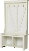 Hall Tree 68'' Storage Bench And Coat Racks 4 Hook Entryway Living Room White