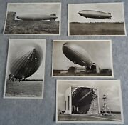 5 Antique Post Cards Hindenburg Zeppelin Construction Germany Unused Real Photo