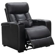Leather Reclining Home Theater Chair Large Recliner Cup Holders Tray Table Black