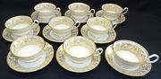 Wedgwood England Gold Florentine Set Of 9 Cups And Saucers - Bone China 2 Marks